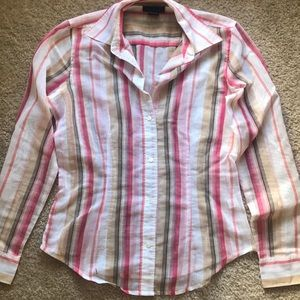 Pink, Tan & white striped semi-sheer button down